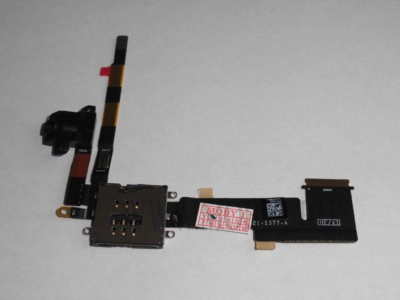 Шлейф для iPad2 Wi-Fi + 3G Sim коннектор + разъём гарнитуры (черный)
